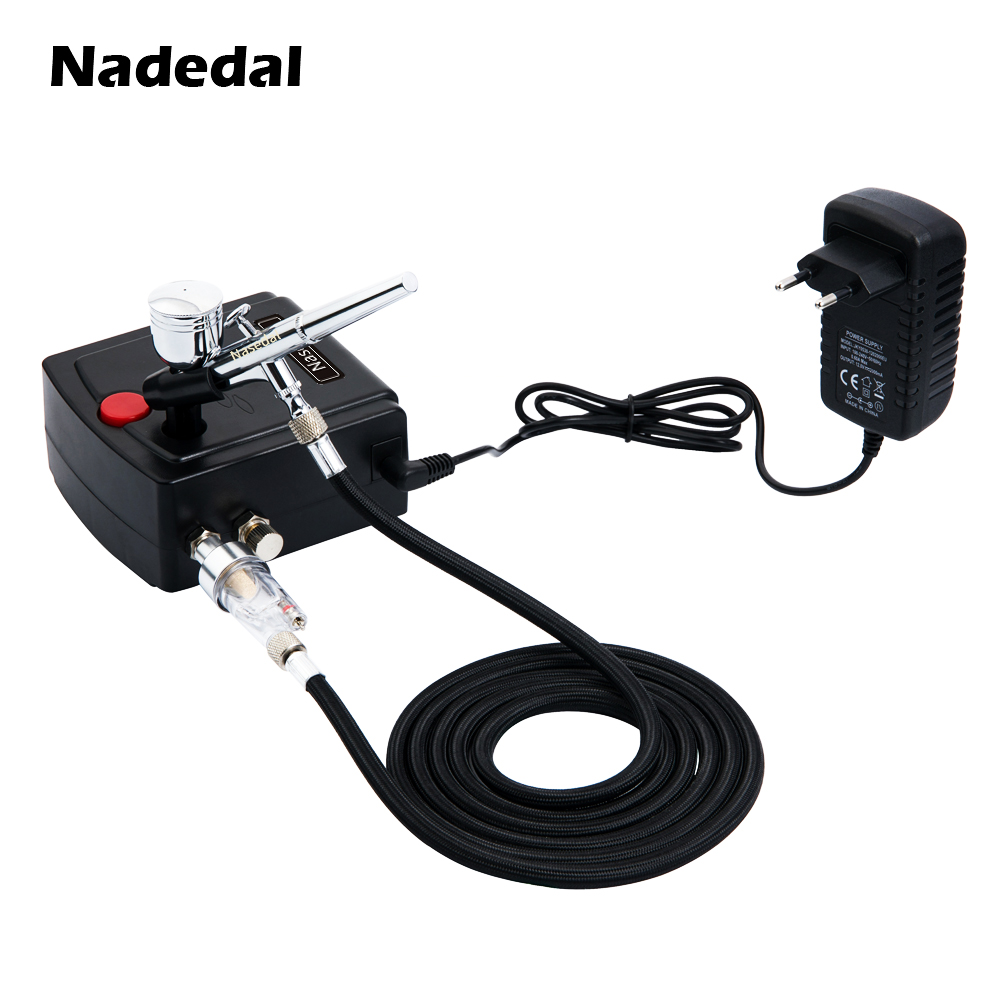 Nasedal Dual-Action Airbrush Spray Gun Mini Airbrush Compressor Kit Airbrush for Nail Art Makeup Tattoo Model Cake Car paint