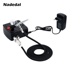 Nasedal Dual-Action Airbrush Spray Gun Mini Kompresor Airbrush Kit Airbrush untuk Kuku Seni Makeup Tato Model Kue Mobil cat(China)