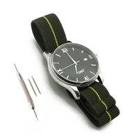 Correa de nailon elástico para reloj, correa de reloj militar de 20mm y 22mm, verde/amarillo, con bolsa de paracaídas de las tropas francesas