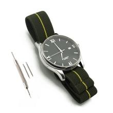 Ремешок зеленый/желтый для наручных часов, нейлоновый эластичный браслет для французских войск с парашютной сумкой в стиле НАТО, 20 мм 22 мм