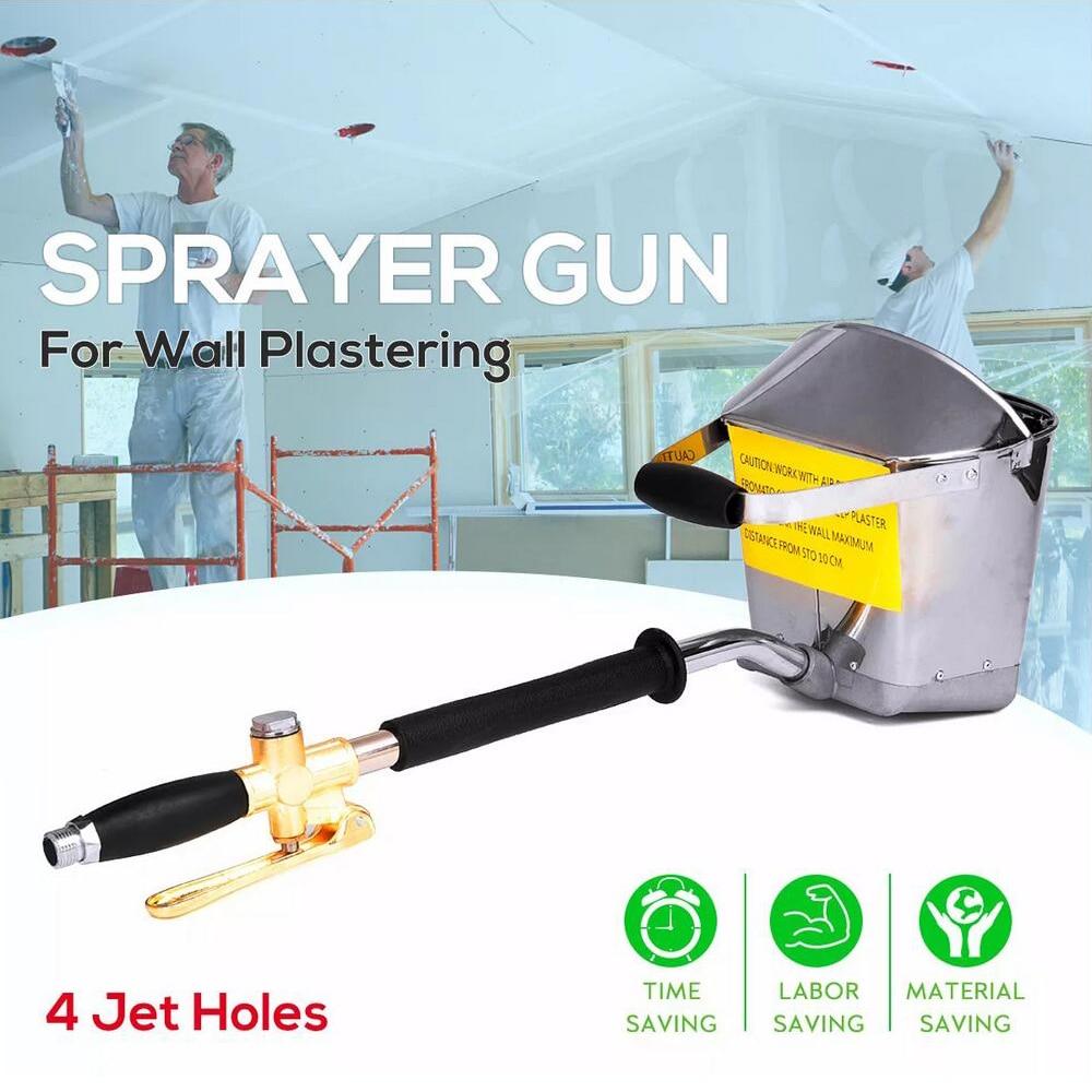 Mortar Cement Spray Guns Handheld Wall Plastering Sprayer Guns Air Cement Mortar Stucco Hopper Caulking Hand Tool