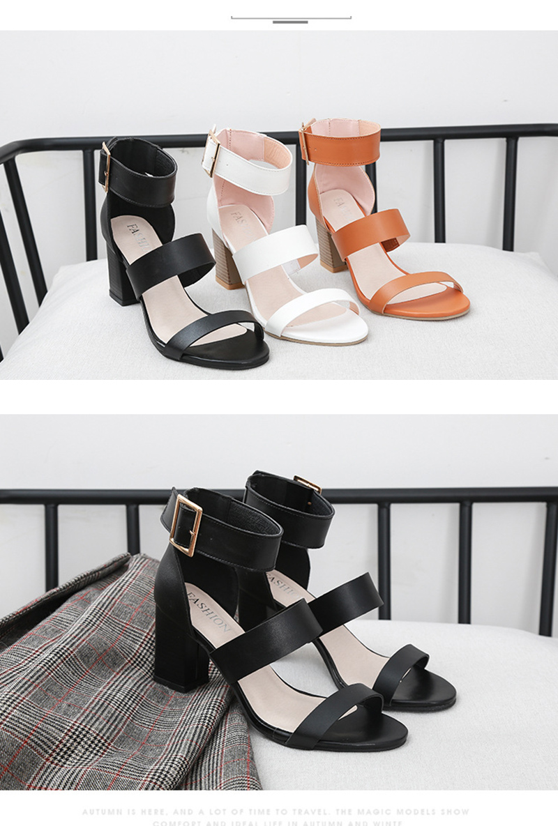 SWQZVT 2020 Summer New Thick High-heel Ankle Buckle Sandals Women Comfort Casual Women Sandals Party Female Shoes (5)