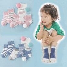 Детские носки осенние и зимние детские носки в полоску из чистого хлопка для мальчиков и девочек носки для малышей на весну и осень Лидер продаж для младенцев