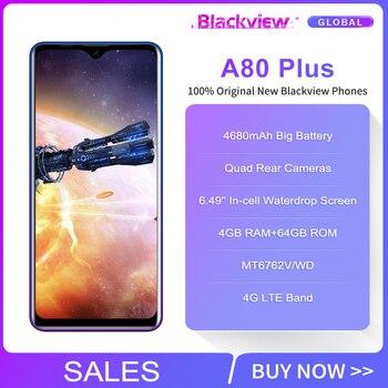 Blackview A80 Plus 6.49'' 4GB+64GB MT6762D Octa Core Android 10.0 Smartphone 13MP Quad Camera 4680mAh 4G NFC Mobile Phone 2