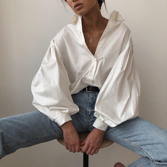 Ladies Lantern Sleeve Elegant Blouse Shirt Women White Black Casual Button Vintage Turn Down Collar Office Lady Shirt Female 1