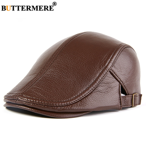 Image 1 - BUTTERMERE Men Beret Hat Real Leather Flat Cap Sheepskin Autumn Winter Male Brown Adjustable High Quality Gatsby Mens Beret Caps