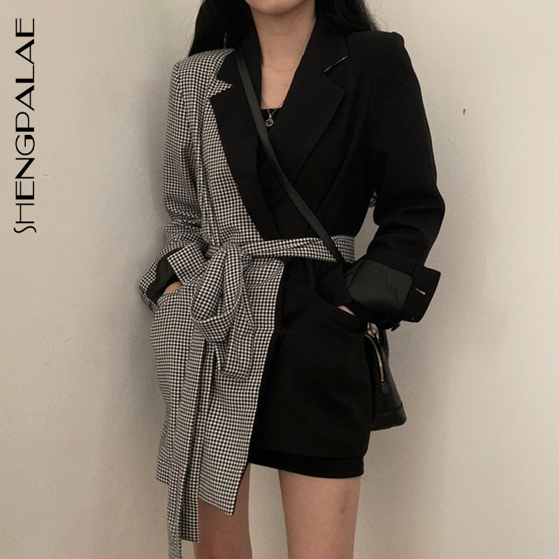 SHENGPALAE Ins Style Autumn Design Split Joint Lattice Irregular Blazers Chalaza High Waist Long Fund Loose Coat Woman FV351