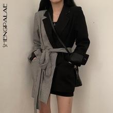 SHENGPALAE Ins Style Autumn Design Split Joint Lattice Irregular Blazers Chalaza