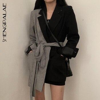 SHENGPALAE Ins estilo otoño diseño dividido Junta entramado Irregular Blazers Chalaza alta cintura largo Fondo chaqueta suelta para mujer FV351