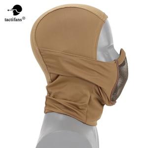 Image 1 - Hooded Bivakmuts Tactical Masker Helmen Steel Mesh Volledige Geconfronteerd Hals Beschermende Jacht Gel Blaster Airsoft Paintabll Accessoires