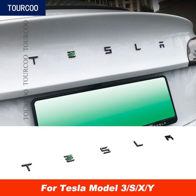 Автомобильный Стайлинг, наклейка на задние ворота из АБС-пластика для Tesla Model 3 S X, модификация автомобиля, декоративные буквы для заднего баг...