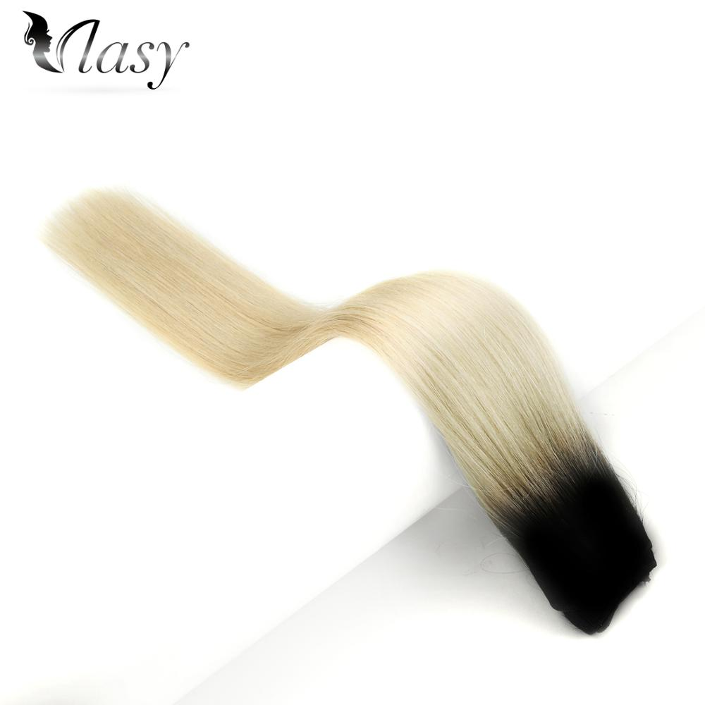 Vlasy Machine Made Remy Hair Weft 100g Ombre Black Platinum Blonde T1B-613# Straight Natural Hair Weave Bundles 16''-24''