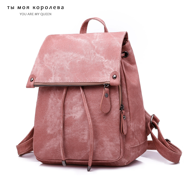 Fashion Women PU Leather Backpacks Vintage Female Bucket Shoulder Bag Travel Ladies Bagpack School Bags For Girls Preppy