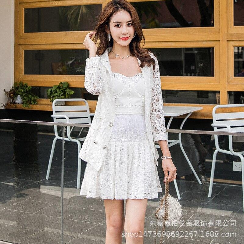 2019 Summer And Autumn WOMEN'S Dress Peng Xiao Ran Celebrity Style Tee Dress + Lace Suit Jacket-Set