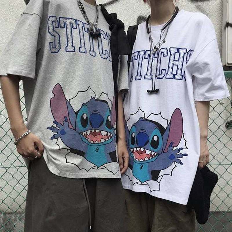 NiceMix Harajuku Summer T Shirt Women Clothes Tshirt Cartoon Print Wild Vintage Print Tees Korean Couple Clothes O-neck T-shirt