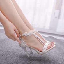 Crystal Queen Women Sandals White Lace Flowers Pearl Tassel Bridal 9cm Heel Fine