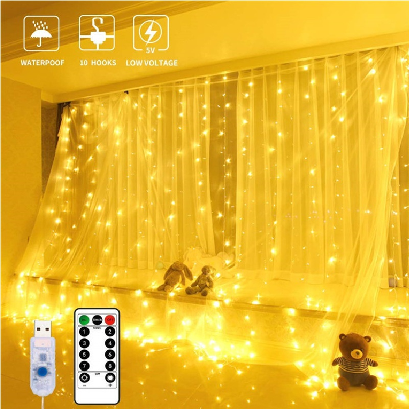 LED Curtain Light Home Decoration Christmas Festival Decoration USB Remote Control Light String Fairy Garland Holiday Lights
