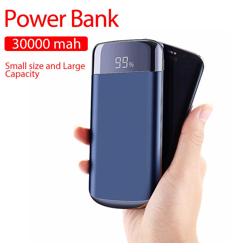 Double USB 30000 MAh LED Powerbank Power Bank External Battery Poverbank Portable Mobile Phone Charger untuk Xiao Mi Mi iPhone