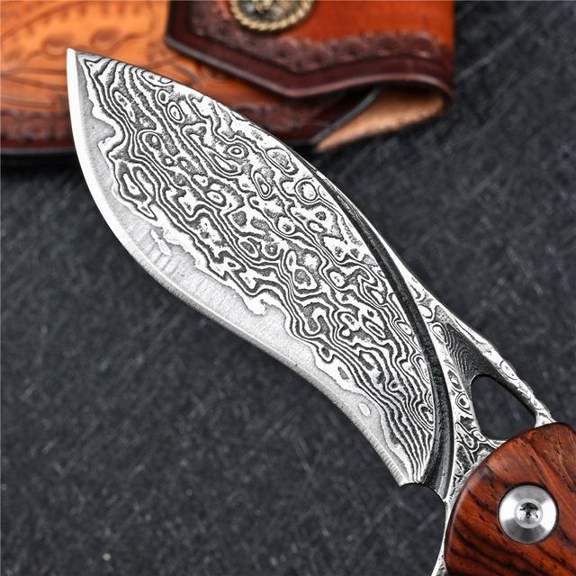 VG10 Damascus Folding Knife Tactical Military With Holster Outdoor Camping Survival Hunting Self Defense Pocket Jackknife Navaja 2