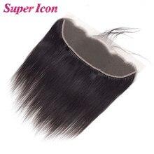 Osso em linha reta 13x4 cabelo humano rendas frontal fechamento brasileiro natural liso remy cabelo 150% densidade pré arrancado frontal supericon