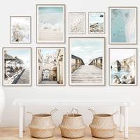 Cuadro sobre lienzo para pared, carteles nórdicos e impresiones de imágenes de pared para decoración para sala de estar, puente de océano, playa, flor rosa, Italia