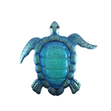 Liffy Gift Blue Metal Turtle Wall Artwork for Garden Decoration Outdoor Animal for Garden Statues Miniatures and Sculptures Yard