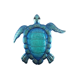 Image 1 - Liffy Gift Blue Metal Turtle Wall Artwork for Garden Decoration Outdoor Animal for Garden Statues Miniatures and Sculptures Yard