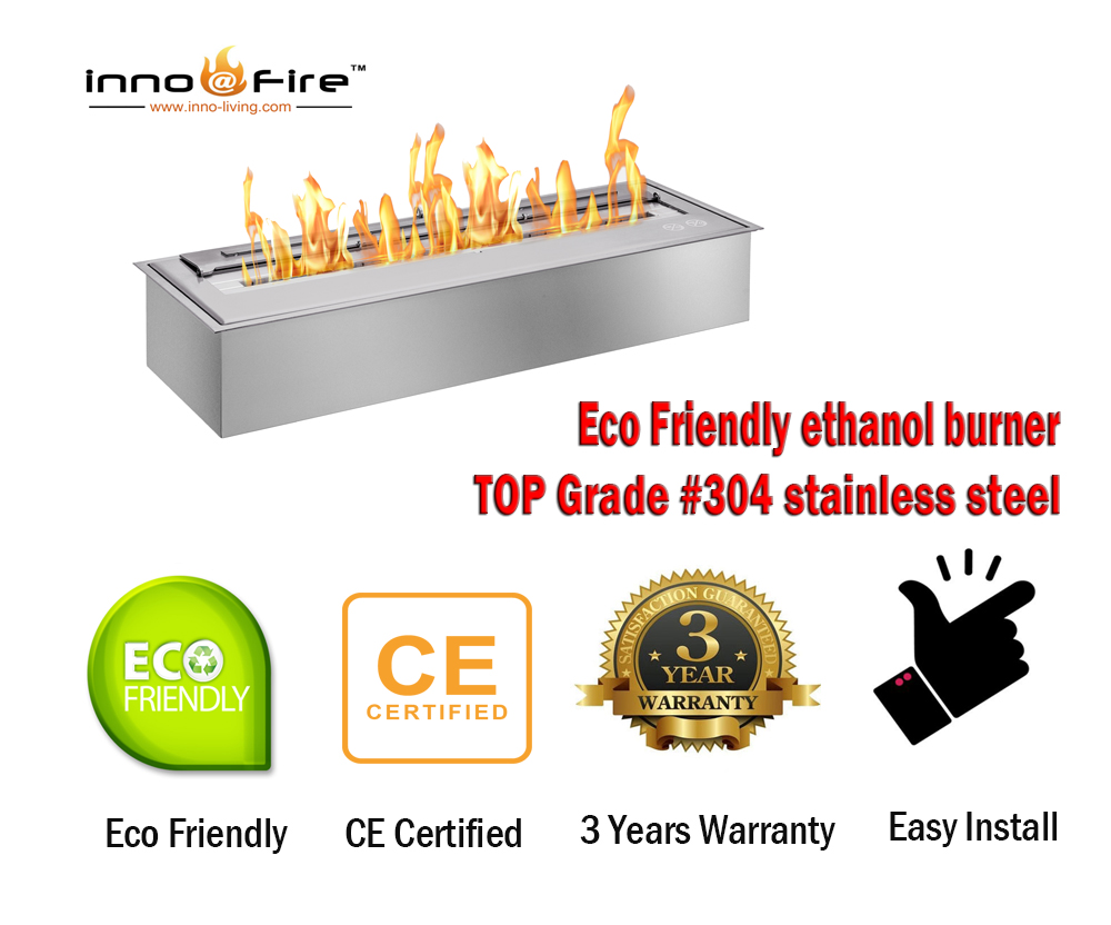 Inno Living Fire  36 Inch Chimney Indoor Linear Ethanol Fireplace