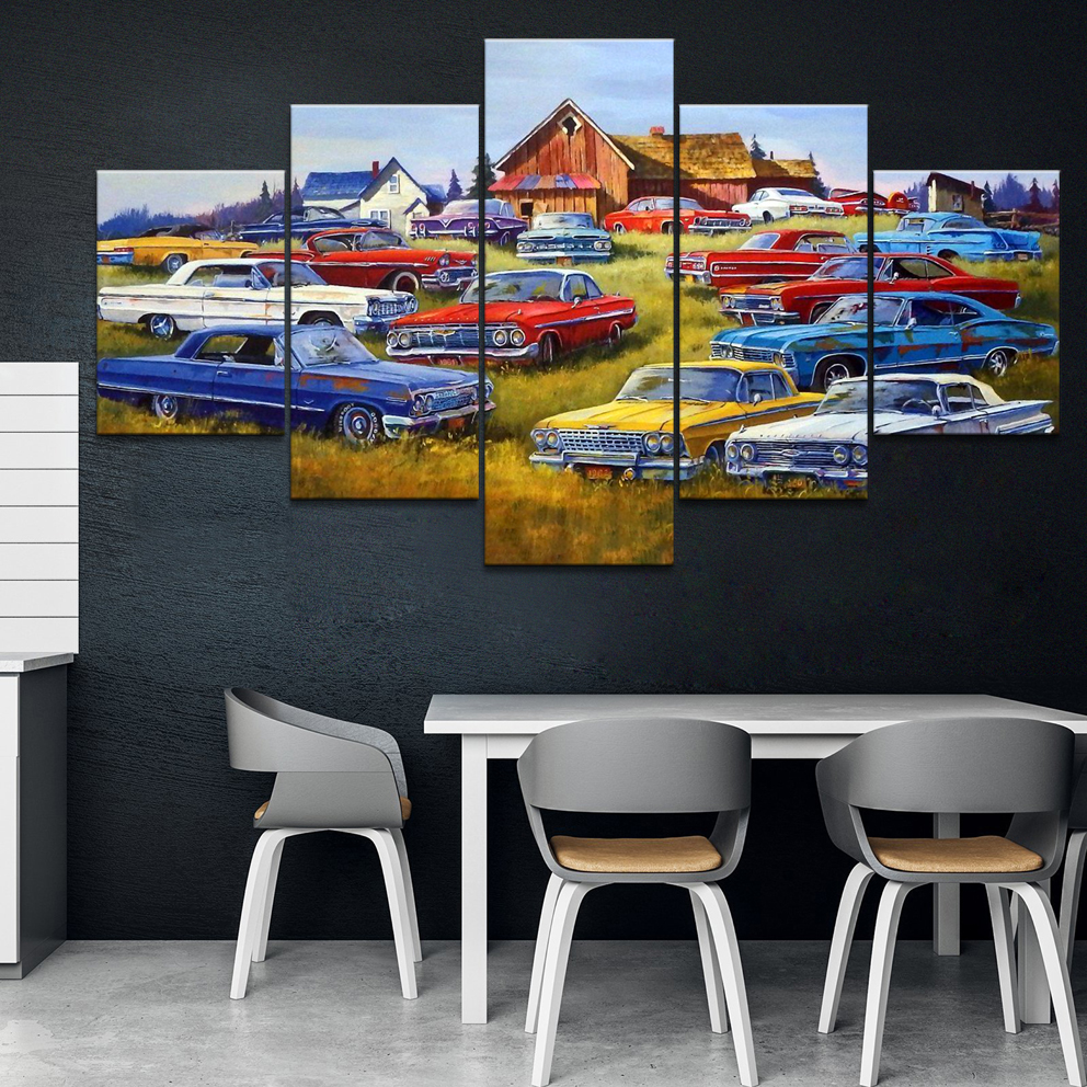 Home Decor Printed Modern Canvas Living Room Frame HD Pictures 5 Panel Canvas Impala heaven Landscape Painting Wall Poster(China)