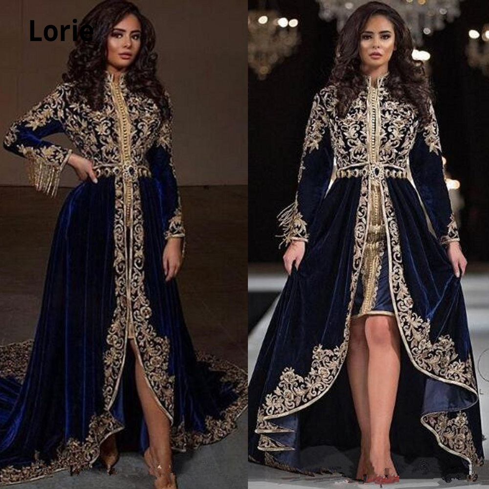 Lorie Navy Blue Lace Beaded Arabic Caftans Evening Dresses 2019 High Neck Velvet Prom Dresses Long Sleeves Formal Party Gowns