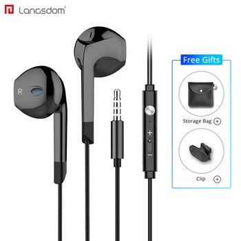Langsdom v6 fone de ouvido 3.5mm in-ear fone de ouvido para xiaomi iphone fone de ouvido com microfone auriculares audifonos mp3 dj