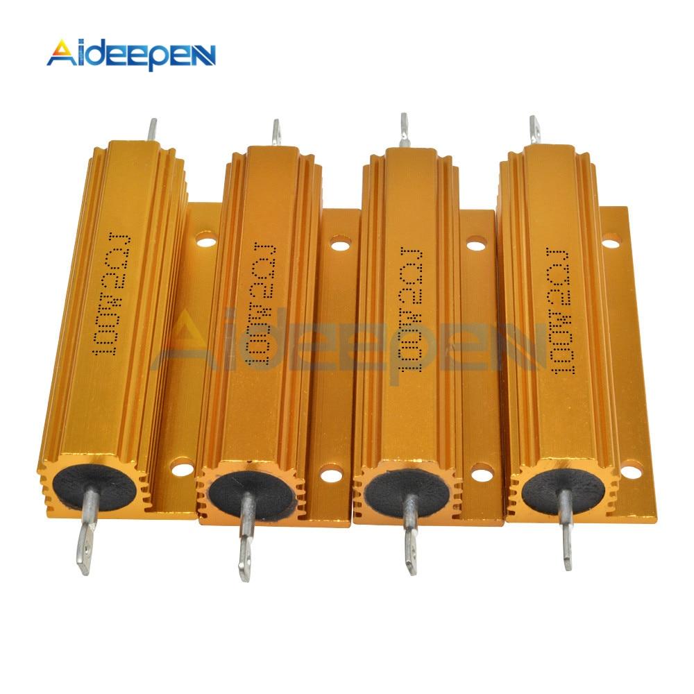 Valor total 100W Caso Concha De Metal de Alumínio Alojado Wirewound Resistor 0.1 ~ 1K 0.1 0.5 1 1.5 2 3 4 5 6 8 10 12 20 30 50 100 K ohm 1