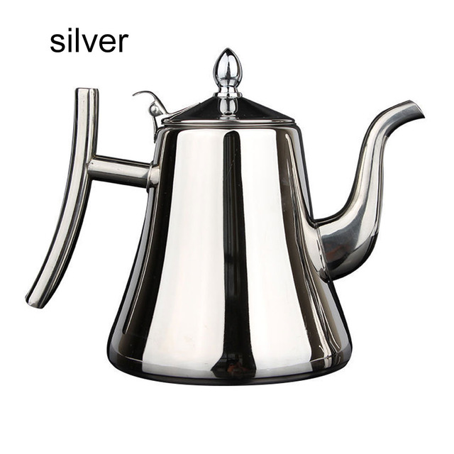 1L/1.5L Thickened Tea Pot With Filter Long Mouth Stainless Steel Teapot Tea Kettle Hotel Coffee Pot Restaurant Induction Cooker 5