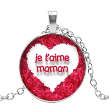 Fashion 2019 New Handmade Necklace Maman Je T Aime De Tout Mon Couer Glass Pendant Necklace To Send A Gift for Mom