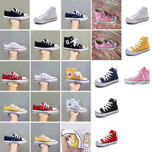 KIDS Boys Girls Authentic Classic Allstar Chuck-Taylor Ox Low High Top CHILD Canvas Shoes children casual Sneakers(China)