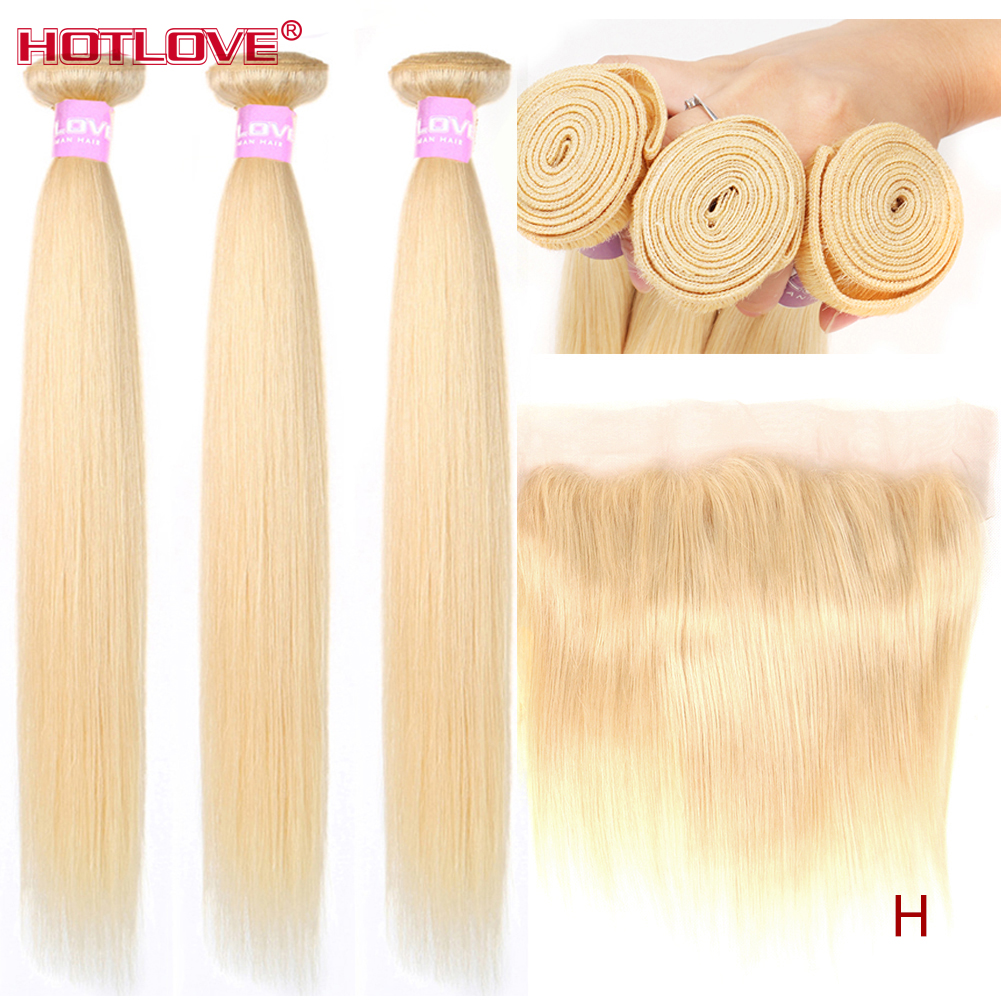 Straight Hair 613 Honey Blonde Bundles With Lace Frontal Closure With Baby Hair Brazilian Blonde Hair Bundles With Frontal Remy