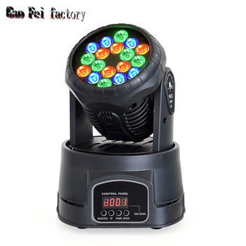Mini wash led spotlight 18X3W moving head lights with RGBW moving wash by dmx 512 control for led disco party lights