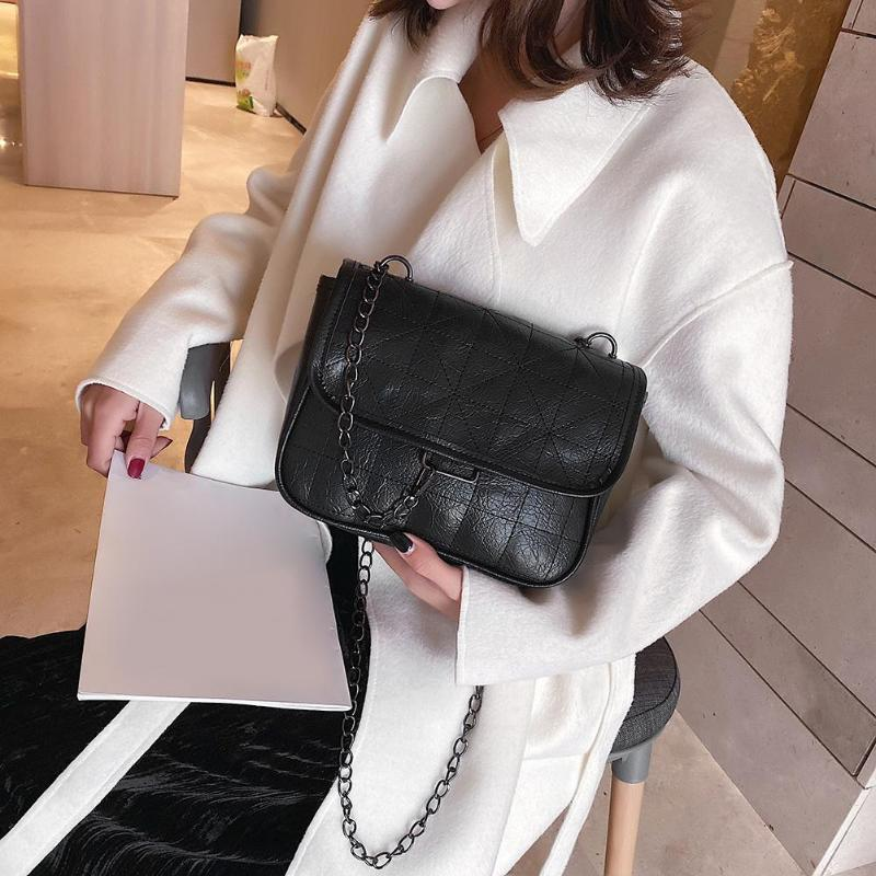 Soft PU Leather Crossbody Bags For Women 2020 Chain Design Shoulder Messenger Bag Comfortable Lady Small Handbags Black Bags