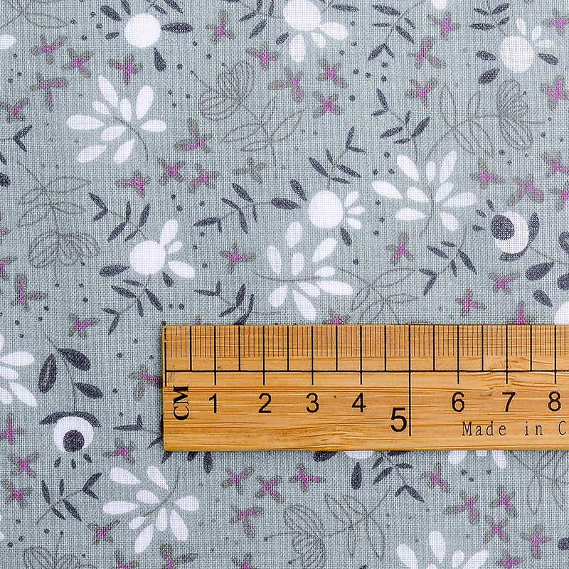 سلسلة الطباعة الرمادي من القطن الخالص مجموعة القماش ، الخياطة القماش DIY بها بنفسك المنتجات اليدوية. حزمة من سبعة أقراص ،