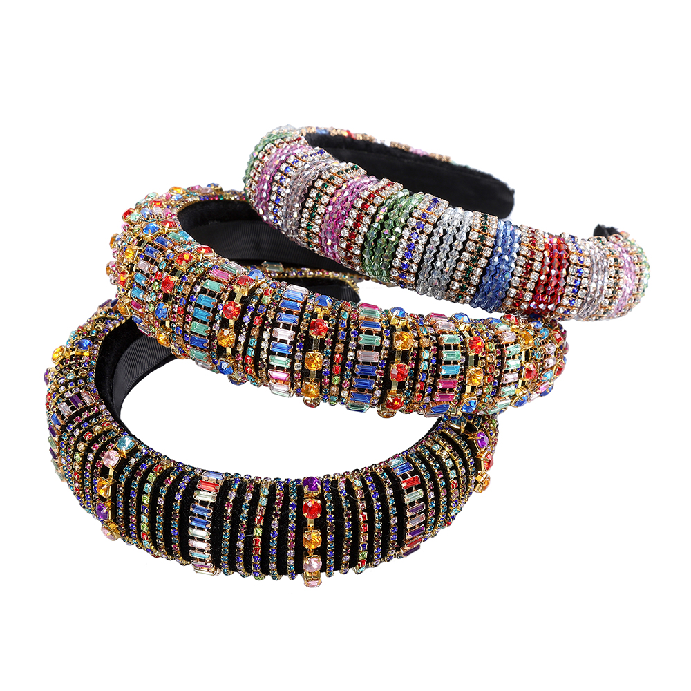 MOLANS Padded Headbands Rhinestones-Sponge Bejeweled Rainbow Sparkly Fashion Women Luxurious