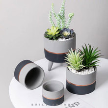 Round planting concrete flowerpot mold Nordic style tray mold