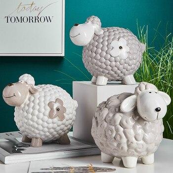 Ceramic Cartoon Piggy Bank Funny Coin Money Boxes Children Creative Gift Tank Objet Decoration Maison Home Decorations KK60CX