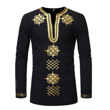 Men's African Style Bronzing Print Shirt Pullover T-shirt Modern long-sleeved MALE shirts| casual Stand-up Collar Tops Robes