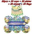 Горячие животные рождественские вечерние одноразовая посуда набор тарелок чашки соломинки Flags Детские День рождения вечерние Baby Shower поста...