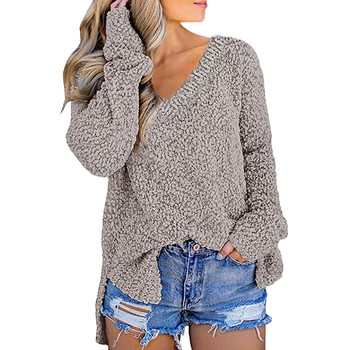 цена на Sweater Women Plus Size Casual V-neck Pullover Long Sleeve Solid Color Loose Knitted Sweater Pull Femme Oversized Sweater #LR5