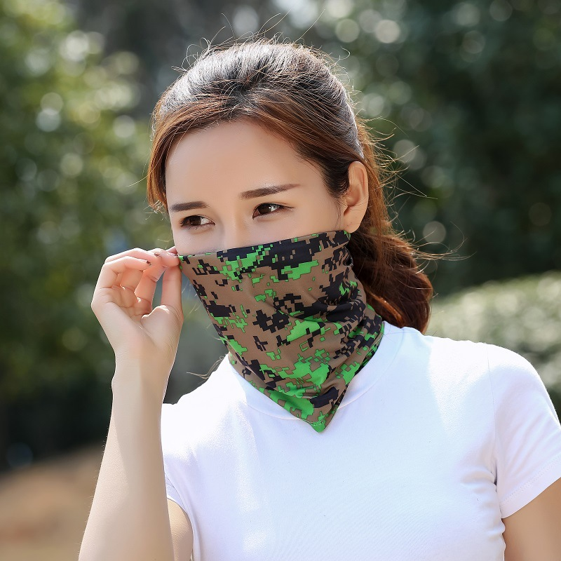 1pc Camouflage Solid Ice Cool Unisex Face Mask Breathable Soft Adult Mouth Mask Outdoor Sports Running Cycling Anti UV Face Mask