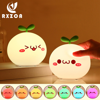 USB LED Night Light Lamp Soft Silicon Touch Sensor Cartoon Creative Cute Colorful For Kids Gift