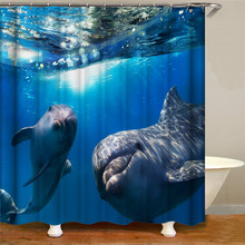 цена на Couple cartoon animal waterproof shower curtain printing shower curtain for home decoration curtain 12 hook