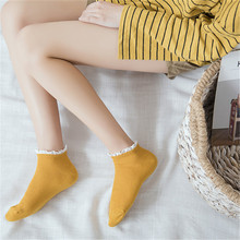 Candy Colors Cotton Women Socks Softable Woman Fungus Lace Cute