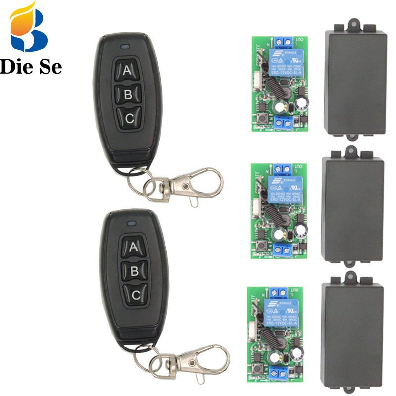 433MHz Universal Wireless Remote Control Switch AC 85V-250V 3 gangs rf Relay Receiver Module with Key Fob Transmitter for Light image
